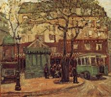 Грант Вуд. Зеленый автобус на улице Парижа