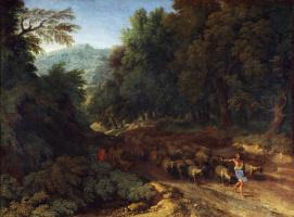 Дугхет Гаспар. Пейзаж с пастухом и его стадом