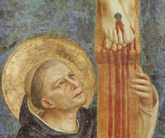 """Fra Beato Angelico. Fragment of the fresco """"Saint Dominic bowing to the crucifix"""" of the monastery of San Marco, Florence (possibly an artist self-portrait)"""