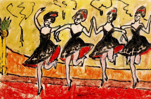 Erich Heckel. Four dancers in black