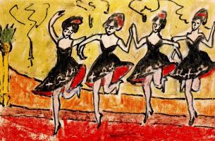 Erich Heckel. Four dancers in black