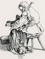 Жак Калло. Старуха с кошкой