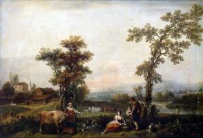Francesco Dzukarelli. Landscape with a woman leading a cow