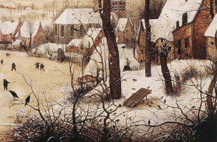 Pieter Bruegel The Elder. Winter landscape with ice-skating and a trap for the birds. Fragment