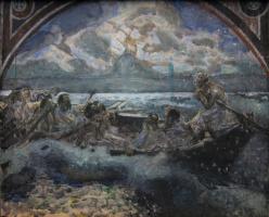 Михаил Александрович Врубель. Хождение по водам. Эскиз стенной росписи
