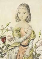 Цугухару Фудзита ( Леонар Фужита ). Girl with roses