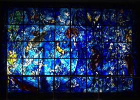 Марк Захарович Шагал. Окно мира.  Витраж памяти Дага Хаммаршельда в здании ООН, Нью-Йорк