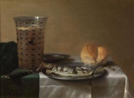 Питер Клас. Натюрморт с бокалом пива и копченой сельдью на тарелке