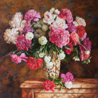 A large bouquet of peonies in a decorative vase