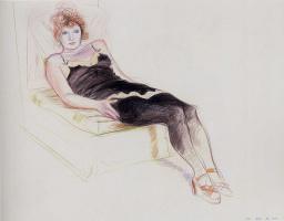 David Hockney. Celia in a black camisole
