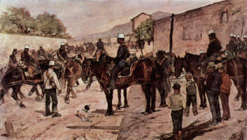 Giovanni Fattori. Artillery corps on a country road