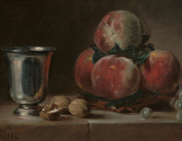 Jean Baptiste Simeon Chardin. Still life with peaches, a silver goblet, grapes and walnuts. Fragment