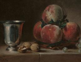 Натюрморт с персиками, серебряным кубком, виноградом и грецкими орехами. Фрагмент