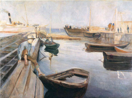 Edvard Munch. The arrival of the mail boat