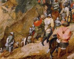 Питер Брейгель Старший. Обращение Савла (Обращение святого Павла). Фрагмент 1. Солдаты и сопровождающие