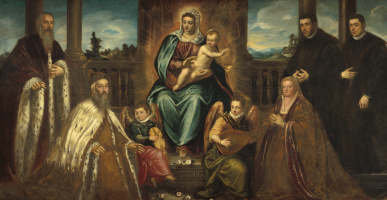 Jacopo (Robusti) Tintoretto. Doge Alvizo Mocenigo with his family in front of the Virgin Mary with the Baby