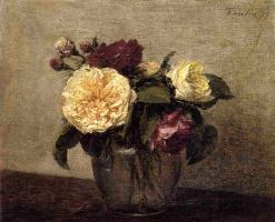 Анри Фантен-Латур. Желтые и красные розы