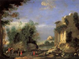 Д'анжели Филиппо. Пейзаж с руинами и фигурами