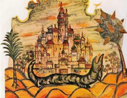 Эль Лисицкий. Рисунок фрагмента росписи синагоги в Могилеве