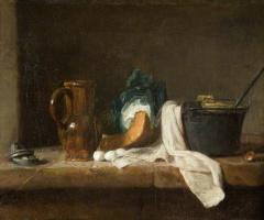 Жан Батист Симеон Шарден. Натюрморт с кувшином, яйцами и кухонной посудой