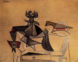 Пабло Пикассо. Натюрморт с домашняя птицей и ножом на столе