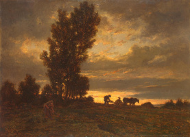 Theodore Rousseau. Landscape with a ploughman