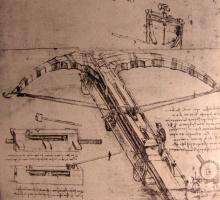 Леонардо да Винчи. Чертеж гигантского арбалета