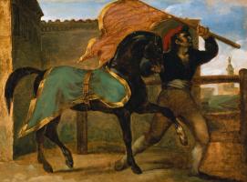 Скачки. Лошадь под зеленой с золотом попоной