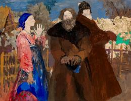 Филипп Андреевич Малявин. Молодая девушка с двумя крестьянами