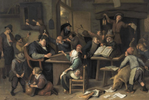 Jan Steen. A school class with a sleeping schoolmaster