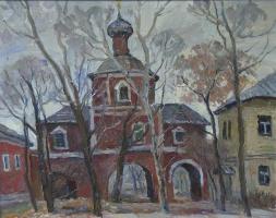 Борис Петрович Захаров. Этюд. Надвратный храм Зачатьевского монастыря (Москва)