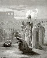 Поль Гюстав Доре. Иллюстрация к Библии: дочь фараона спасает Моисея