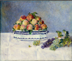 Пьер Огюст Ренуар. Натюрморт с персиками и виноградом