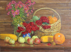 Eugene Alexandrovich Kazantsev. Still life viburnum, apples.