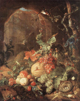Ян Давидс де Хем. Натюрморт с птицами