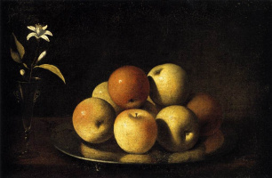 Хуан де Сурбаран. Натюрморт с тарелкой яблок и цветком апельсина