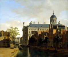Геррит Адрианс Беркхейде. Вид канала и ратуши в Амстердаме