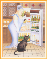 Перси у холодильника