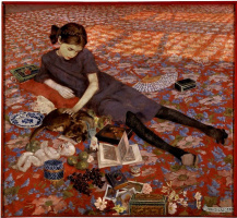 Феличе Казорати. Девушка на красной ковровой дорожке
