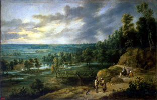 Лукас ван Юден. Пейзаж с гадалкой