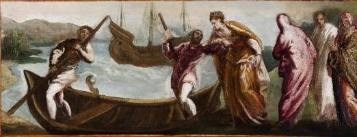 Jacopo Tintoretto. St. Helen sits in a boat in the Holy Land