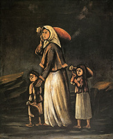 Нико Пиросмани (Пиросманашвили). Крестьянка с детьми идет за водой