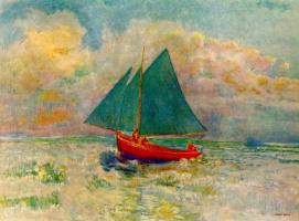 Одилон Редон. Красная лодка с голубыми парусами