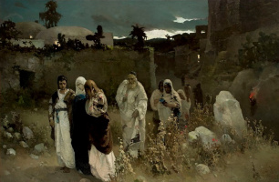 The return from Calvary. Mary at the tomb of Christ