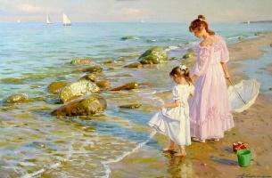 Александр Николаевич Аверин. Две девушки на берегу.