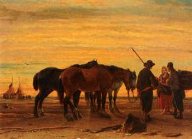 Джозеф Джодокус Моеренхоут. Рыбаки с их лошадми на пляже