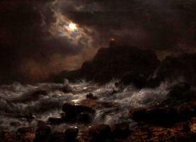Андреас Ахенбах. Норвежская береговая в лунном свете