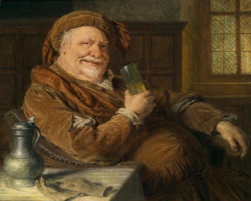 Эдуард фон Грютцнер. Фальстаф с оловянным графином и бокалом вина.