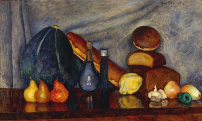 Ilya Ivanovich Mashkov. Still life with bread and pumpkin