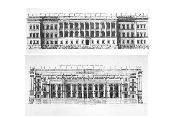 Джованни Лоренцо Бернини. Лувр, третий проект. Восточный фасад и разрез по оси двора